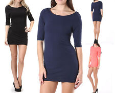 Slimming 3/4 Sleeve Body Con Tight Mini Dress Stretch Tunic Above Knee Clubwear