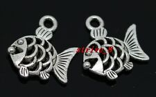 40/240pcs Tibetan Silver two-sided fish Jewelry Finding Charms pendant 17x16mm