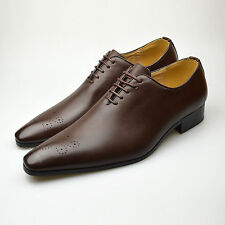 Mens Smart Leather Dress Shoes Brown Italian Lace Up Slip On SIZE 6 7 8 9 10 11