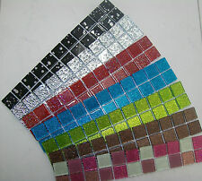 GLASS MOSAIC BORDER TILES GLITTER FINISH - VARIOUS COLOURS + PACK SIZES