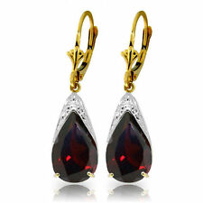 Natural Garnets 10 ctw Pear Cut Gems Leverback Dangle Earrings in 14K Solid Gold