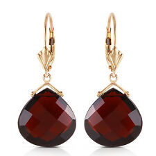 Natural Garnets 17 ctw Pear Cut Gems Leverback Dangle Earrings in 14K Solid Gold