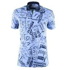 "MOSCHINO Short Sleeves Printed Cotton Shirt ""Fashion"" White Blue 03666"