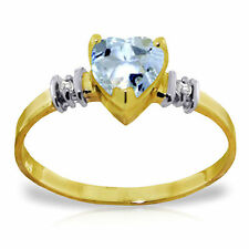 Genuine Aquamarine Heart  Gemstone & Diamonds Ring 14K Yellow,  White, Rose Gold