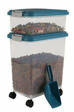 Airtight 2-Piece Pet Food & Treat/Travel Storage Plastic Containers with Scoop