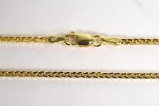 "BRAND NEW 14k Yellow Gold 1.3mm Hollow Spiga Wheat Chain Necklace 20"" - 24"""
