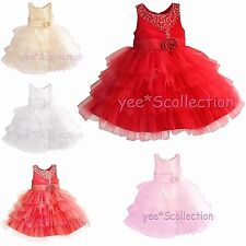New sequins flower girl wedding pageant party formal dress baby toddler 3m - 18m