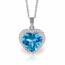 Natural Blue Topaz Heart Gemstone & Diamonds Pendant Necklace in 14K. Solid Gold