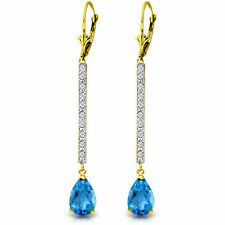 Genuine Blue Topaz Pear Gemstones & Diamonds Bar Dangle Earrings 14K. Solid Gold