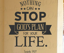 Nothing Can Stop Gods Plan For Life Isaiah 14:27 Wall Decal Vinyl Art QuoteT22