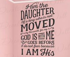 I Am The Daughter Of A King God No Fear Vinyl Wall Decal Bible Quote T28