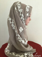 HIGH QUALITY Cotton Blend Viscose Scarf with Flower Border Embroidery 200X70 cm