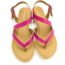Womens Magenta Strappy T Strap Sandal Bamboo Shoes Intro-18