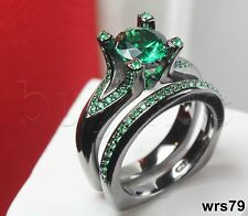 Bridal Sterling Silver Green Sapphire Black Engagement Ring & Wedding Ring Set