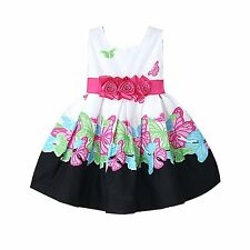Girls Floral Dress Butterfly Flower Pageant Party Dresses Baby Kids Clothes 1-6Y