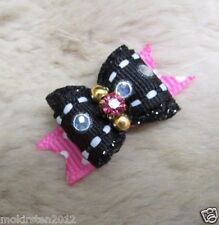 "Mo's USA Dog Bows -3/8"" Bow xxs Teacup bling & glitter- Yorkie Baby Puppy+"