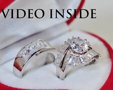 H&Hers 5.08CT 3Pcs Wedding Diamond Ring Engagement Ring Platinum Made in Italy