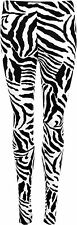 New Womens Zebra Print Black White Animal Elastic Ladies Stretch Leggings 8-14