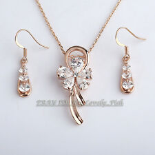 Fashion Rose Gold Plated Flower Earring Necklace Jewelry Set 18KGP Rhinestone CZ