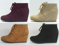 New Womens Bootie Wedge Lace Up Round Toe Ankle Fashion Boot Faux Suede Shoe