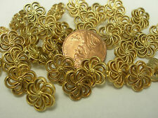 New lot of 12 Electroplated Plastic Gold Flower 1/2 inch (12mm) Buttons (#H)