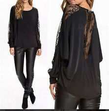 New Women Fashion Floral Long Sleeve Joint Batwing Lace Loose Top T-shirt Blouse