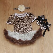 Newborn Infant Baby Girl 3pcs Leopard Romper Bodysuit Dress Clothes Outfits