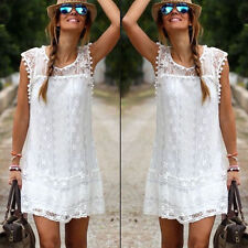 Women Celeb Lace Party Evening Summer Ladies Dress Shorts Mini Dress Top White