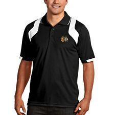Chicago Blackhawks Antigua Embroidered Xtra-Lite Black Fusion Polo Shirt