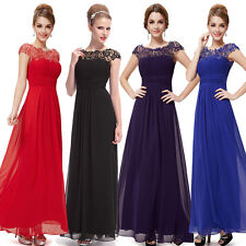 New Chiffon Lace Long Maxi Evening Formal Party Prom Dress Gown Stock Size 6-16