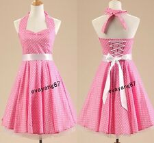 Pink Sweet Girl Vintage Style 1950's Rockabilly Housewife Swing Pinup Prom Dress