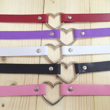 Women Popular Punk Goth PU Leather Heart Ring Collar Funky Necklace Pendants