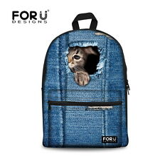 New Girl Canvas School Bag Travel Cat Backpack Satchel Women Shoulder Rucksack