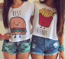 Fashion Best Friends Summer Short Sleeve Crop Sports Top Casual Summer T-Shirt