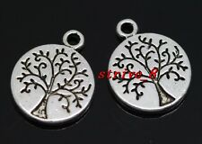 Wholesale 50/300pcs Tibetan Silver two-sided Tree Charms Pendant 15x13mm