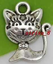 Wholesale lot 50/300pcs Tibetan Silver two-sided Cats Charms Pendant 16x12mm