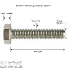 M10 10mmØ ALL SIZES A2 Stainless Steel Hexagon Head Fully Thread Set Bolts/Screw