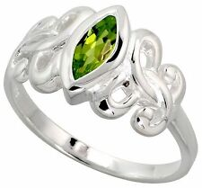 Sterling Silver Celtic Motherhood Symbol Knot Ring with Natural Peridot 3/8""
