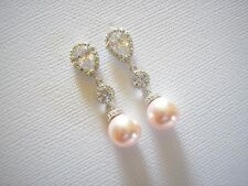 Lexie Bridal Earrings Swarovski Blush Pink pearls Rhodium plated Vintage