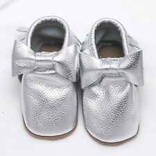 Christmas Moccasins Infant Baby Boy Toddlers Silver Soft Genuine Leather Shoes