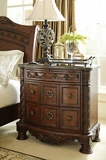 North Shore 3 Drawer Night Stand Bedroom Old World Traditional Brown Marble Top