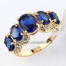 Fashion Simulated Sapphire Gemstone Ring 18KGP CZ Crystal Size 5.5-10