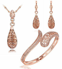 New Solid 18K Rose Gold Drop Pendant Bracelet + Necklace + Earring + Bangle Set