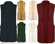 WOMENS SLEEVELESS LONG DUSTER COAT LADIES WAISTCOAT SMART BLAZER CAPE PLUS SIZE