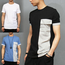 Mens Casual Fashion Contrast Pocket Color Sleeve Button T Shirt, GENTLERSHOP
