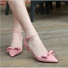 New Patent Leather Bowknot Pointed Toe Womens Kitten Heels Shoes Pumps Sandals