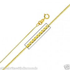 Solid 14k Yellow Gold 0.8mm. Box Chain 16 18 20 22 24 26 Inches