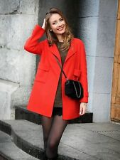ZARA Woman Authentic BNWT Red Wool Blend Round Neck Coat Jacket S M L 7522/044