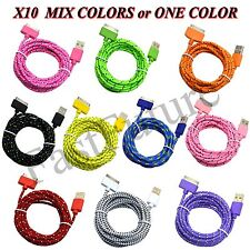 10x 30Pin to USB Data Sync Charger Cable Cord  for iPhone 4 iPod 3/4 iPad  Lot