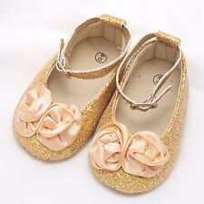 Christmas Infant Newborn 6-12 months Baby Girl Gold Flower Shoes